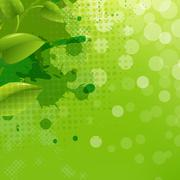 Green nature background with blur blob and leaf Stock Illustration