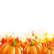 Orange with blobs autumn leafs and pumpkins Stock Illustration