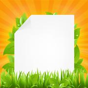 Paper with beams and grass Stock Illustration