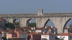 Arches of Aguas Livres Aqueduct Alcantara valley,Lisbon Stock Footage