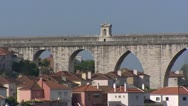 Stock Video Footage of Arches of Aguas Livres Aqueduct Alcantara valley,Lisbon