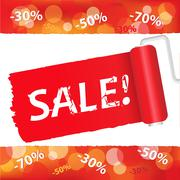 sale red poster - stock illustration