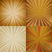 Vintage sunburst backgrounds set Stock Illustration