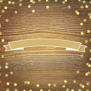 wooden background with gold stars and banner ribbon - stock illustration