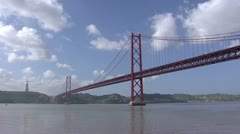 25 de Abril suspension bridge crossing the Tagus river, Lisbon Stock Footage