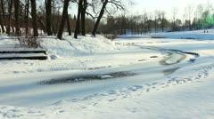 Slavianka river in Pavlovsk, the environ St.  Petersburg, Russia Stock Footage