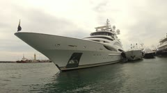 Bow of Super Yacht Stock Footage