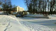 Bridge over the river, Palace in Pavlovsk, the environ St.  Petersburg, Russia Stock Footage