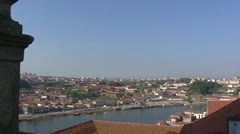 Vila Nova de Gaia skyline at Douro river + pan City of Porto Stock Footage