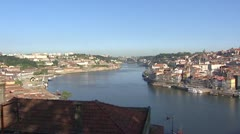 Vila Nova de Gaia pan skyline Porto + Dom Luis Bridge Stock Footage
