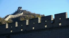 Great Wall on mountain peak,China ancient architecture,fortress battlements. Stock Footage