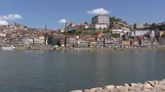 Skyline City of Porto - from Vila Nova de Gaia at Douro river Stock Footage