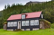 Stock Photo of typical rural icelandic house at overcast day