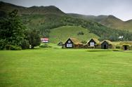 Stock Photo of overgrown old typical rural icelandic houses