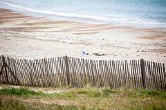wooden fence at northern beach in france - stock photo