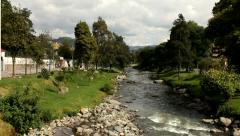 Quick flowing river in Cuenca - stock footage
