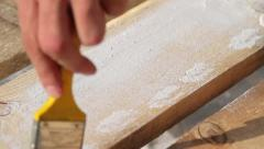 Painting wooden boards Stock Footage