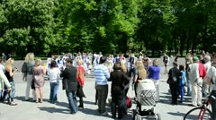 People applause for ukrainian national dance team in vilnius Stock Footage