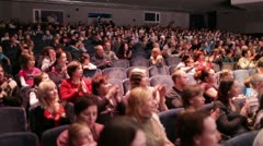 Audience applauded after the premiere. - stock footage