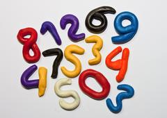 colorful clay numeric characters. - stock photo