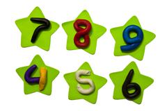 Colorful clay numeric characters. Stock Photos