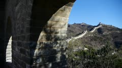 View Great wall from battlements lookouts,China ancient defense engineering. Stock Footage