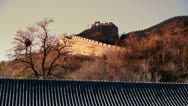 Great Wall on mountain peak,China ancient architecture,fortress in fall autumn. Stock Footage