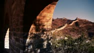 Stock Video Footage of view Great wall from battlements lookouts in dusk,ancient defense engineering.