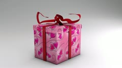 Opening valentines day gift wrap with 2 alpha channels Stock Footage