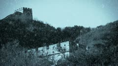 Great Wall on mountain peak,China ancient architecture,fortress in winter snow. Stock Footage