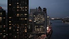 City at night. skyline skyscrapers towers. new york. nyc Stock Footage