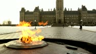 Stock Video Footage of Eternal Flame in Winter at Canada's Parliament Hill