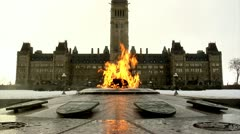 Eternal Flame in Winter at Canada's Parliament Hill - stock footage
