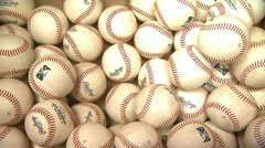 Baseballs Close Up Thrown In Box Stock Footage