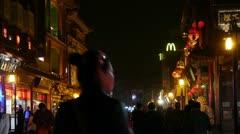 Crowd walk in China Beijing night alley street market. Stock Footage