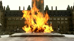 Eternal Flame in Winter at Canada's Parliament Hill Stock Footage