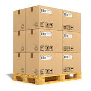 Cardboard boxes on shipping pallet - stock illustration