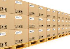 Stacked cardbaord boxes on shipping pallets Stock Illustration
