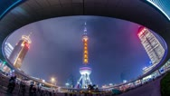Night view of the East Pearl Tower under the Pedestrian Ring Stock Footage