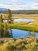 Yellowstone River in the beautiful Heyden Vally - stock photo