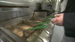 Food Cooking in Deep Fryers 3 Stock Footage