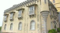 Pena National Palace entrance + pan Stock Footage
