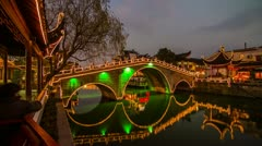 Night view of a Chinese traditional bridge old architecture Stock Footage