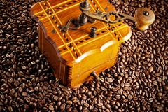 antique coffee mill - stock photo