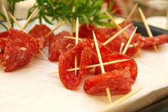 appetizers salami - stock photo