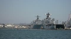 Naval Vessels in San Diego Harbor Stock Footage