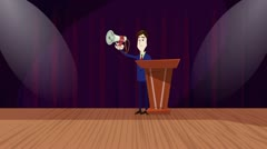"""Now Hear this"", Cartoon Announcer Animation Stock Footage"