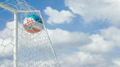 Stock Video Footage of croatian ball scores in slow motion with sky background