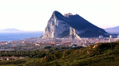 View of Gibraltar from Spain Stock Footage