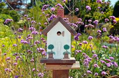 little white birdhouse - stock photo